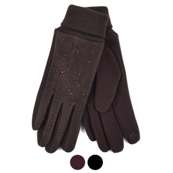 Women's Rhinestone Studded Touch Screen Winter Gloves - LWG35