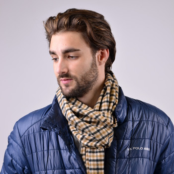 Unisex Plaid Cashmere Feels Acrylic Winter Scarves AS2501