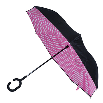 Pink Polka Dot Double Layer Inverted Umbrella - UM18063