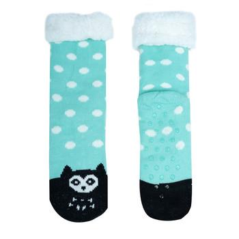 Women's Owl Plush Fleece Lined Sherpa Slipper Socks - WFLS-A1003