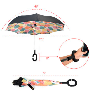 Multi Color Leaves Double Layer Inverted Umbrella - UM18053-MULTI