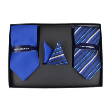 Striped & Solid Ties with Matching Hankies Box Set - THX12-RBL-2