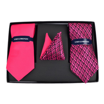 Striped & Geometric Ties with Matching Hankies Box Set - THX12-FA-2