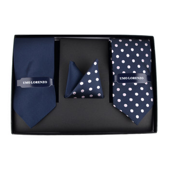 Dotted & Solid Tie with Matching Hanky Box Set - THX12-NBL-1