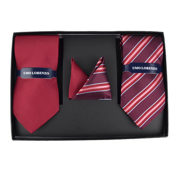 Striped & Solid Tie with Matching Hanky Box Set - THX12-BUR-2