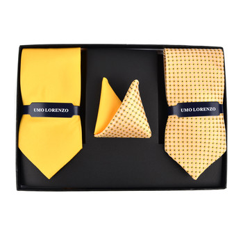 Geometric & Solid Tie with Matching Hanky Box Set - THX12-YW-3