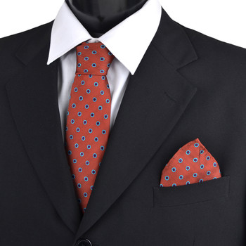 Dotted & Solid Tie with Matching Hanky Box Set - THX12-BUR-3
