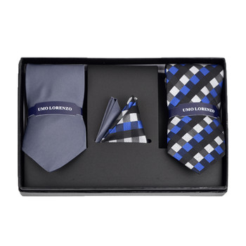 Geometric & Solid Tie with Matching Hanky Box Set - THX12-CHA-1