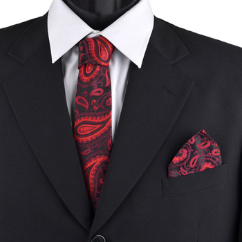 Paisley & Solid Tie with Matching Hanky Box Set - THX12-RD-1