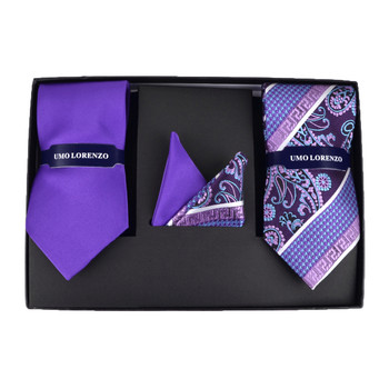 Paisley & Solid Tie with Matching Hanky Box Set - THX12-PUR-1