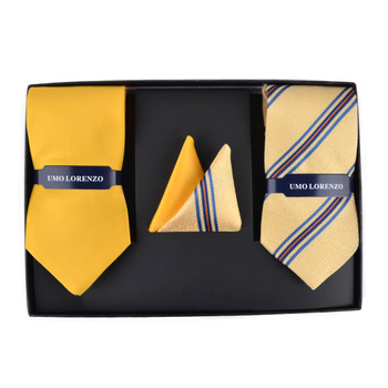 Striped & Solid Tie with Matching Hanky Box Set - THX12-YW-2