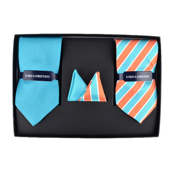 Striped & Solid Tie with Matching Hanky Box Set - THX12-TURQ-2