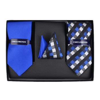 Geometric & Solid Tie with Matching Hanky Box Set - THX12-RBL-1