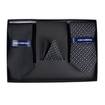 Geometric & Solid Tie with Matching Hanky Box Set - THX12-BLK-6