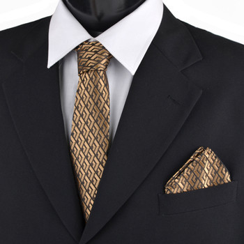 Geometric & Solid Tie with Matching Hanky Box Set - THX12-GD-1