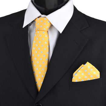 Dotted & Solid Tie with Matching Hanky Box Set - THX12-YW-1