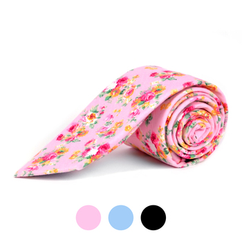 2.25' Cotton Slim Tie - NVC-FLORAL1