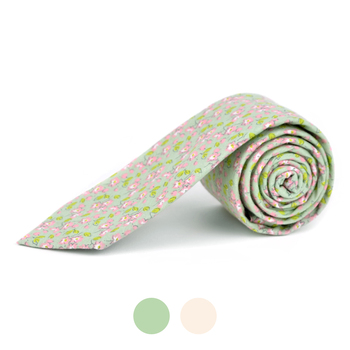 "2.25"" Floral Cotton Slim Tie - NVC-FLORAL2"