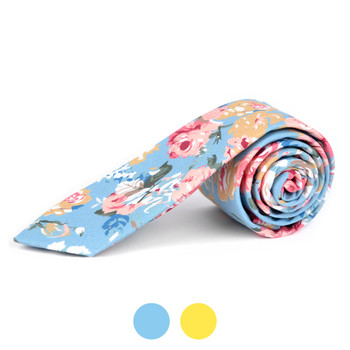 "2.25"" Floral Cotton Slim Tie - NVC-FLORAL4"