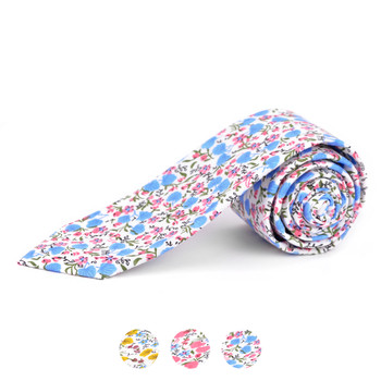 "2.25"" Floral Cotton Slim Tie - NVC-FLORAL5"