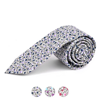 "2.25"" Floral Cotton Slim Tie - NVC-FLORAL9"