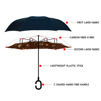 Brown Leopard print Double Layer Inverted Umbrella- UM5023