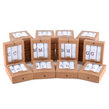 Men's Boxed Embroidered Initial Alphabet Cotton Handkerchiefs - IH3701