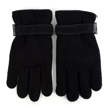 PrePack Men's Fleece Winter Black Gloves - ZM4-Pack