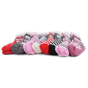 24pc Assorted Women's Plush Fleece Lined Sherpa Slipper Socks - WFLS-24pk
