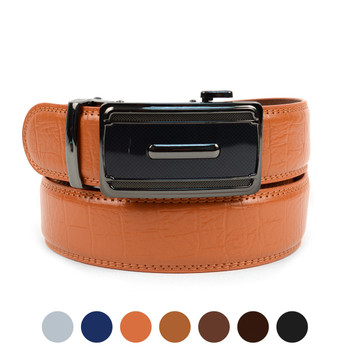 Men's Genuine Leather Sliding Buckle Ratchet Belt - MGLBB49
