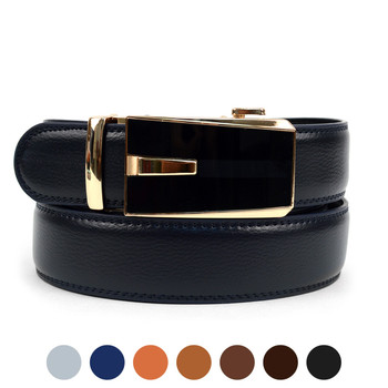 Men's Genuine Leather Sliding Buckle Ratchet Belt - MGLBB52