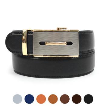 Men's Genuine Leather Sliding Buckle Ratchet Belt MGLBB13