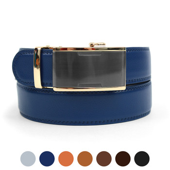 Men's Genuine Leather Sliding Buckle Ratchet Belt MGLBB14