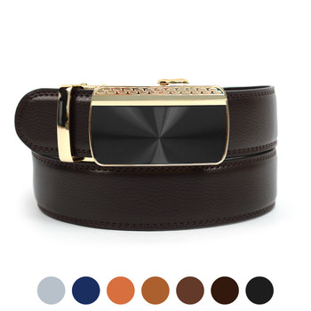 Men's Genuine Leather Sliding Buckle Ratchet Belt MGLBB16