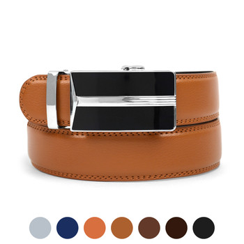 Men's Genuine Leather Sliding Buckle Ratchet Belt MGLBB18