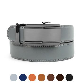 Men's Genuine Leather Sliding Buckle Ratchet Belt- MGLBB28