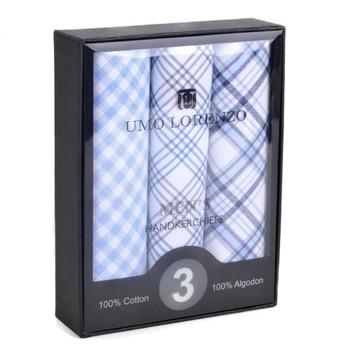 IH3701 Initial Monogram COTTON HANDKERCHIEFS Box of 3 Umo Lorenzo White