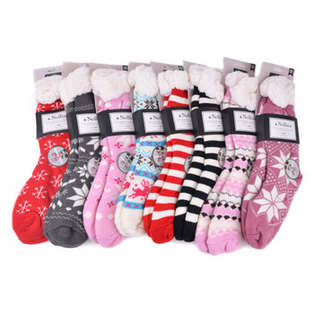 Assorted Women's Plush Fleece Lined Sherpa Slipper Socks - WFLS-bulk