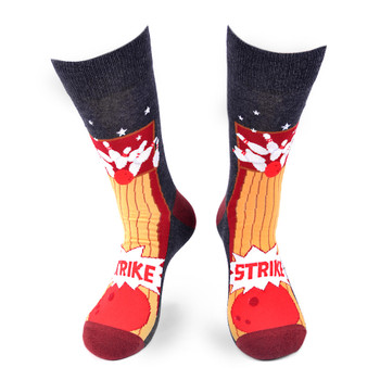 Men's Bowling STRIKE Novelty Socks - NVS19572-CHAR