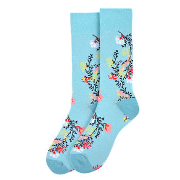 Men's Floral Novelty Socks - NVS19557-SKBL