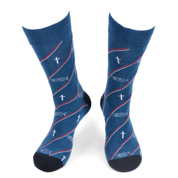Men's Jesus Fish Novelty Socks - NVS19573-BL
