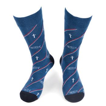 Men's Jesus Fish Novelty Socks - NVS19573-BL