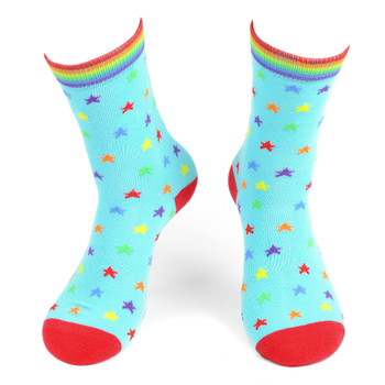 Women's Rainbow Stars Novelty Socks - LNVS19431-BL