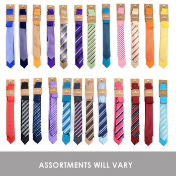 24 Pack Assorted Microfiber Poly Woven Skinny Ties & Hanky Set (2pc) - STH2X/ASST
