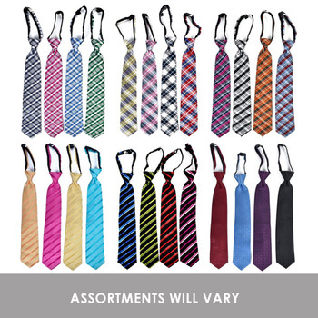 24pc Assorted Microfiber Poly Woven X-Long Zipper Ties MPWXZ/ASST