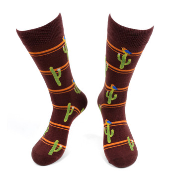 Men's Cactus Novelty Socks - NVS19583-BRN