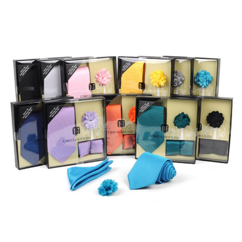 12pc Assorted Pattern Tie,Matching Hanky and Lapel Pin Box Set - THLB3000
