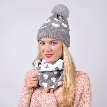 Women's 2pc Reversible Hearts Hat & Infinity Scarf Set - LKS5031