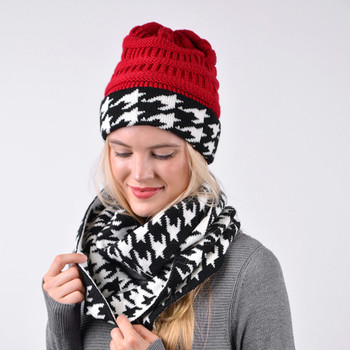 Women's 2pc Reversible Houndstooth Hat & Infinity Scarf Set - LKS5032