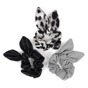 4pc Black Patterned Scrunchy Bow Set